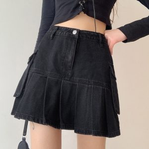 Black Pleated Denim Skirt (3) - My Sweet Outfit - EGirl Outfits - Soft Girl Clothes Aesthetic - Grunge Korean Fashion Hip Emo Rap