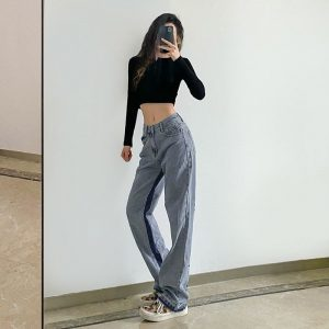 Blue Tubular Letter Print Jeans (3) - My Sweet Outfit - EGirl Outfits - Soft Girl Clothes Aesthetic - Grunge Korean Fashion Hip Emo Rap