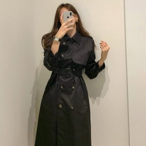 British Double Breasted Trench Coat (3) - My Sweet Outfit - EGirl Outfits - Soft Girl Clothes Aesthetic - Grunge Korean Fashion Hip Emo Rap