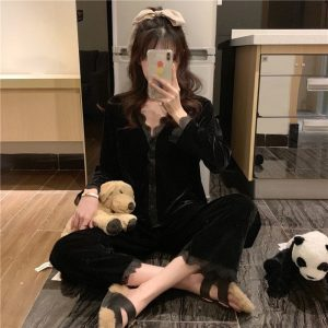 Button Up Corduroy Lace Pajamas 3 - My Sweet Outfit - EGirl Outfits - Soft Girl Clothes Aesthetic - Grunge Korean Fashion Tumblr Hip Emo Rap