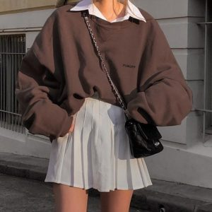 Chest Embroidery Wide Brown Sweatshirt (2) - My Sweet Outfit - EGirl Outfits - Soft Girl Clothes Aesthetic - Grunge Korean Fashion Hip Emo Rap