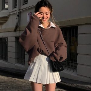 Chest Embroidery Wide Brown Sweatshirt (4) - My Sweet Outfit - EGirl Outfits - Soft Girl Clothes Aesthetic - Grunge Korean Fashion Hip Emo Rap