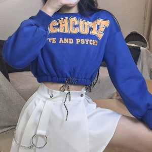 Cute Lazy Top With Elastic Waist (1) - My Sweet Outfit - EGirl Outfits - Soft Girl Clothes Aesthetic - Grunge Korean Fashion Hip Emo Rap