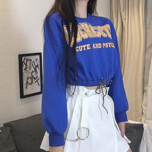 Cute Lazy Top With Elastic Waist (3) - My Sweet Outfit - EGirl Outfits - Soft Girl Clothes Aesthetic - Grunge Korean Fashion Hip Emo Rap