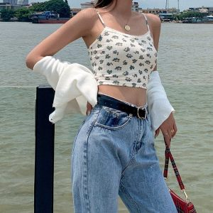 Flower Print And Bow Lace Textured Top - My Sweet Outfit - EGirl Outfits - Soft Girl Clothes Aesthetic - Grunge Korean Fashion Hip Emo Rap (1)