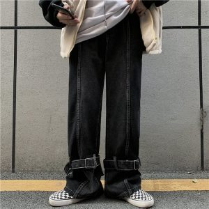 Funny Korean Style Huge Jeans 1 - My Sweet Outfit - EGirl Outfits - Soft Girl Clothes Aesthetic - Grunge Korean Fashion Hip Emo Rap