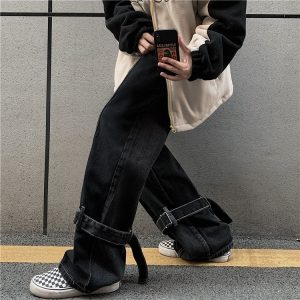 Funny Korean Style Huge Jeans 2 - My Sweet Outfit - EGirl Outfits - Soft Girl Clothes Aesthetic - Grunge Korean Fashion Hip Emo Rap
