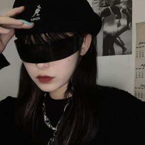 Futuristic Arched Censored Glasses - My Sweet Outfit - EGirl Outfits - Soft Girl Clothes Aesthetic - Grunge Korean Fashion Hip Emo Rap (2)
