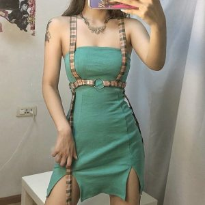 Green Dress With Slits and Suspenders - My Sweet Outfit - EGirl Outfits - Soft Girl Clothes Aesthetic - Grunge Korean Fashion Hip Emo Rap (1)