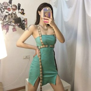 Green Dress With Slits and Suspenders - My Sweet Outfit - EGirl Outfits - Soft Girl Clothes Aesthetic - Grunge Korean Fashion Hip Emo Rap (3)