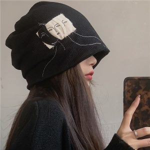 Hat Without Lapels With Pile And Pattern - My Sweet Outfit - EGirl Outfits - Soft Girl Clothes Aesthetic - Grunge Korean Fashion Hip Emo Rap (2)