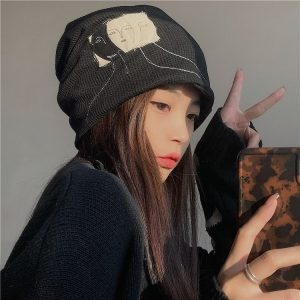 Hat Without Lapels With Pile And Pattern - My Sweet Outfit - EGirl Outfits - Soft Girl Clothes Aesthetic - Grunge Korean Fashion Hip Emo Rap (3)