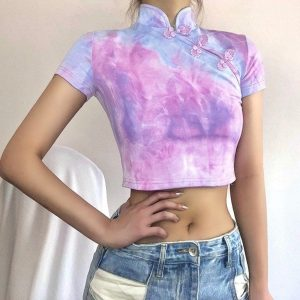 High Collar Purple Asian Style Top - My Sweet Outfit - EGirl Outfits - Soft Girl Clothes Aesthetic - Grunge Korean Fashion Hip Emo Rap (3)