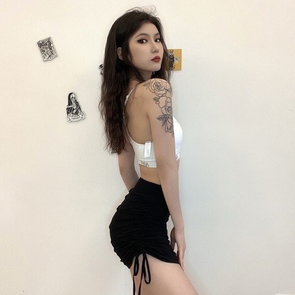 High Waist Skinny Lace-Up Mini Skirt - My Sweet Outfit - EGirl Outfits - Soft Girl Clothes Aesthetic - Grunge Korean Fashion Hip Emo Rap 2