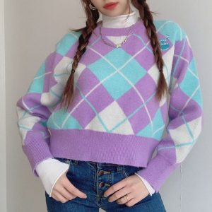 Large Diamond Round Neck Pullover (1) - My Sweet Outfit - EGirl Outfits - Soft Girl Clothes Aesthetic - Grunge Korean Fashion Hip Emo Rap