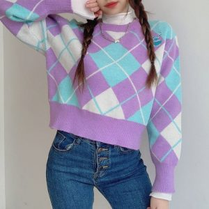 Large Diamond Round Neck Pullover (3) - My Sweet Outfit - EGirl Outfits - Soft Girl Clothes Aesthetic - Grunge Korean Fashion Hip Emo Rap