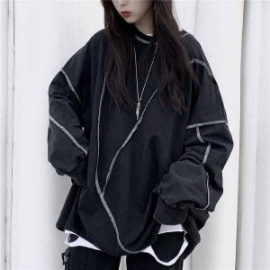 Large Multi-Piece Sweatshirt With Seams - My Sweet Outfit - EGirl Outfits - Soft Girl Clothes Aesthetic - Grunge Korean Fashion Hip Emo Rap (4)