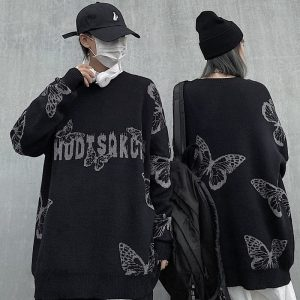 Long-Sleeved Graphic Knitted Sweater - My Sweet Outfit - EGirl Outfits - Soft Girl Clothes Aesthetic - Grunge Korean Fashion Hip Emo Rap (4)