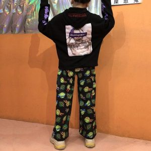 Loose Light Pants With Turtle Cartoons - My Sweet Outfit - EGirl Outfits - Soft Girl Clothes Aesthetic - Grunge Korean Fashion Hip Emo Rap (2)