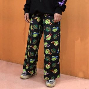 Loose Light Pants With Turtle Cartoons - My Sweet Outfit - EGirl Outfits - Soft Girl Clothes Aesthetic - Grunge Korean Fashion Hip Emo Rap (3)