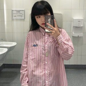 Loose Striped Shirt With Pockets and Embroidery - My Sweet Outfit - EGirl Outfits - Soft Girl Clothes Aesthetic - Grunge Korean Fashion Hip Emo Rap (1)