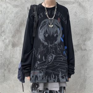 Oversized Jumper With Anime Pattern - My Sweet Outfit - EGirl Outfits - Soft Girl Clothes Aesthetic - Grunge Korean Fashion Hip Emo Rap (1)