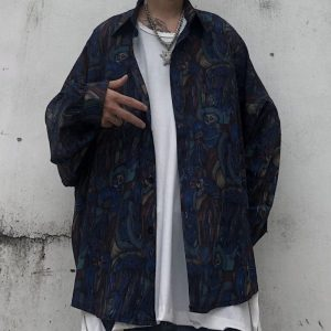 Oversized Retro Shirt With Patterns - My Sweet Outfit - EGirl Outfits - Soft Girl Clothes Aesthetic - Grunge Korean Fashion Hip Emo Rap (1)
