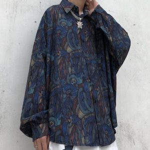 Oversized Retro Shirt With Patterns - My Sweet Outfit - EGirl Outfits - Soft Girl Clothes Aesthetic - Grunge Korean Fashion Hip Emo Rap (2)