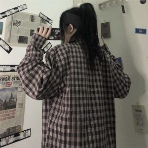 Plaid Loose Retro Student Shirt - My Sweet Outfit - EGirl Outfits - Soft Girl Clothes Aesthetic - Grunge Korean Fashion Hip Emo Rap (1)