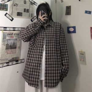Plaid Loose Retro Student Shirt - My Sweet Outfit - EGirl Outfits - Soft Girl Clothes Aesthetic - Grunge Korean Fashion Hip Emo Rap (3)