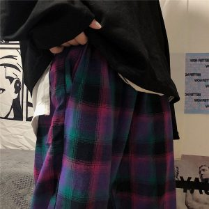 Purple Check Wide Leg Pants - My Sweet Outfit - EGirl Outfits - Soft Girl Clothes Aesthetic - Grunge Korean Fashion Hip Emo Rap (4)