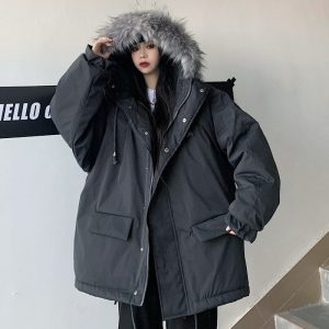 Raglan Warm Parka Jacket And Faux Fur - My Sweet Outfit - EGirl Outfits - Soft Girl Clothes Aesthetic - Grunge Korean Fashion Hip Emo Rap (1)