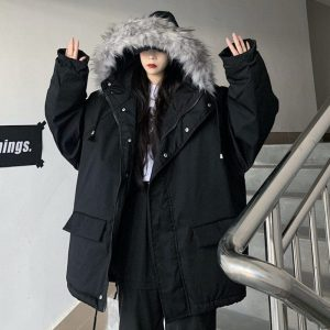 Raglan Warm Parka Jacket And Faux Fur - My Sweet Outfit - EGirl Outfits - Soft Girl Clothes Aesthetic - Grunge Korean Fashion Hip Emo Rap (2)