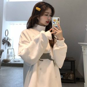 Sweater With Deer Embroidery And Snowflakes (2) - My Sweet Outfit - EGirl Outfits - Soft Girl Clothes Aesthetic - Grunge Korean Fashion Hip Emo Rap