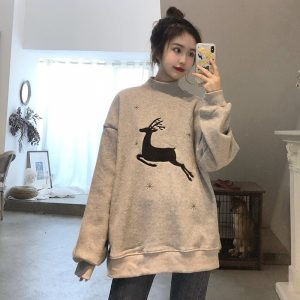 Sweater With Deer Embroidery And Snowflakes (3) - My Sweet Outfit - EGirl Outfits - Soft Girl Clothes Aesthetic - Grunge Korean Fashion Hip Emo Rap