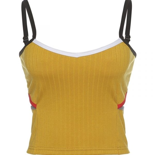 Yellow Textured Top With Side Slits - My Sweet Outfit - EGirl Outfits - Soft Girl Clothes Aesthetic - Grunge Korean Fashion Hip Emo Rap 3