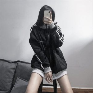 Сasual Wide Zip High Collar Hoodie - My Sweet Outfit - EGirl Outfits - Soft Girl Clothes Aesthetic - Grunge Korean Fashion Hip Emo Rap (1)
