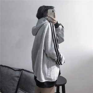 Сasual Wide Zip High Collar Hoodie - My Sweet Outfit - EGirl Outfits - Soft Girl Clothes Aesthetic - Grunge Korean Fashion Hip Emo Rap (5)