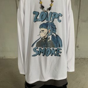 Anime Print Plus Size Long Sleeve Top - My Sweet Outfit - eGirl Outfits - Soft Girl Clothes Aesthetic - Grunge Korean Artsy - Cosplay - Anime - Fashion itGirl - Rap Accessories 1