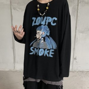 Anime Print Plus Size Long Sleeve Top - My Sweet Outfit - eGirl Outfits - Soft Girl Clothes Aesthetic - Grunge Korean Artsy - Cosplay - Anime - Fashion itGirl - Rap Accessories 2
