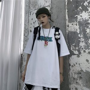 Art Hoe Loose Graffiti Print T-shirt - My Sweet Outfit - eGirl Outfits - Soft Girl Clothes Aesthetic - Grunge Korean Artsy - Cosplay - Anime - Fashion itGirl - Rap Accessories (1)