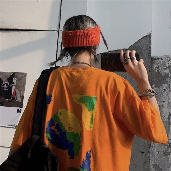 Art Hoe Loose Graffiti Print T-shirt - My Sweet Outfit - eGirl Outfits - Soft Girl Clothes Aesthetic - Grunge Korean Artsy - Cosplay - Anime - Fashion itGirl - Rap Accessories (2)
