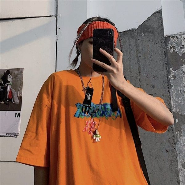 Art Hoe Loose Graffiti Print T-shirt - My Sweet Outfit - eGirl Outfits - Soft Girl Clothes Aesthetic - Grunge Korean Artsy - Cosplay - Anime - Fashion itGirl - Rap Accessories (3)