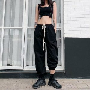 Black Aesthetic Drawstring Waist Pants - My Sweet Outfit - eGirl Outfits - Soft Girl Clothes Aesthetic - Grunge Korean Artsy - Cosplay - Anime - Fashion itGirl - Rap Accessories (4)