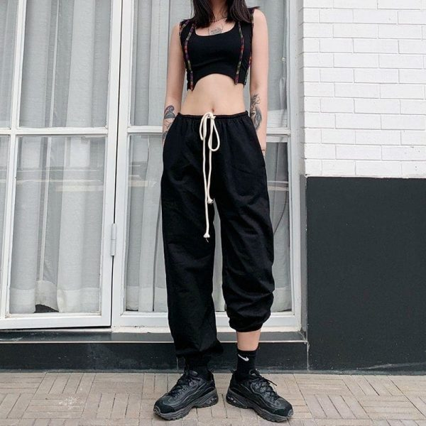 Black Aesthetic Drawstring Waist Pants - My Sweet Outfit - eGirl Outfits - Soft Girl Clothes Aesthetic - Grunge Korean Artsy - Cosplay - Anime - Fashion itGirl - Rap Accessories 4