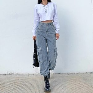 Blue Prodigy High Waisted Joggers - My Sweet Outfit - eGirl Outfits - Soft Girl Clothes Aesthetic - Grunge Korean Artsy - Cosplay -Anime - Fashion Hip Emo Rap Accessories 6