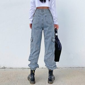 Blue Prodigy High Waisted Joggers - My Sweet Outfit - eGirl Outfits - Soft Girl Clothes Aesthetic - Grunge Korean Artsy - Cosplay -Anime - Fashion Hip Emo Rap Accessories 7
