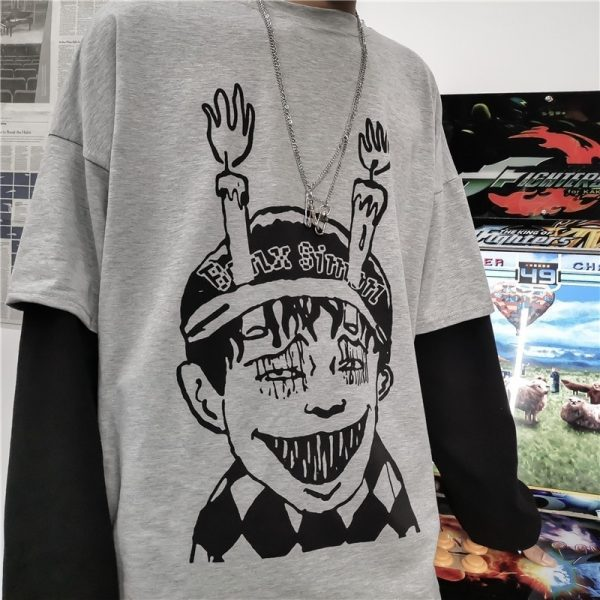 Boy Print 2in1 Oversized Harajuku T-shirt - My Sweet Outfit - eGirl Outfits - Soft Girl Clothes Aesthetic - Grunge Korean Artsy - Cosplay - Anime - Fashion itGirl - Rap Accessories (3)