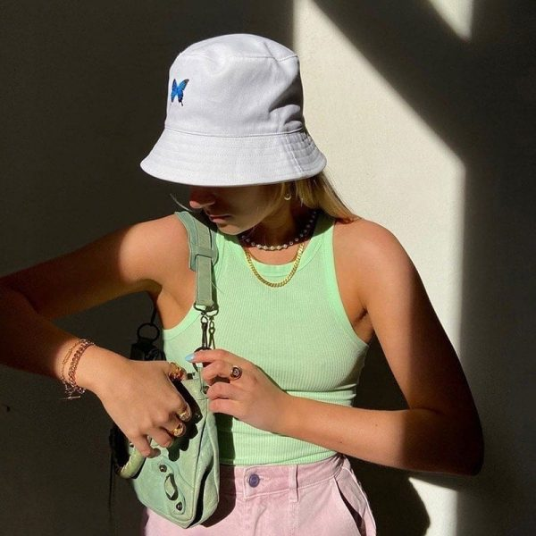 Butterfly Embroidery Fisherman White Hаt - My Sweet Outfit - eGirl Outfits - Soft Girl Clothes Aesthetic - Grunge Korean Artsy - Cosplay - Anime - Fashion itGirl - Rap Accessories 3