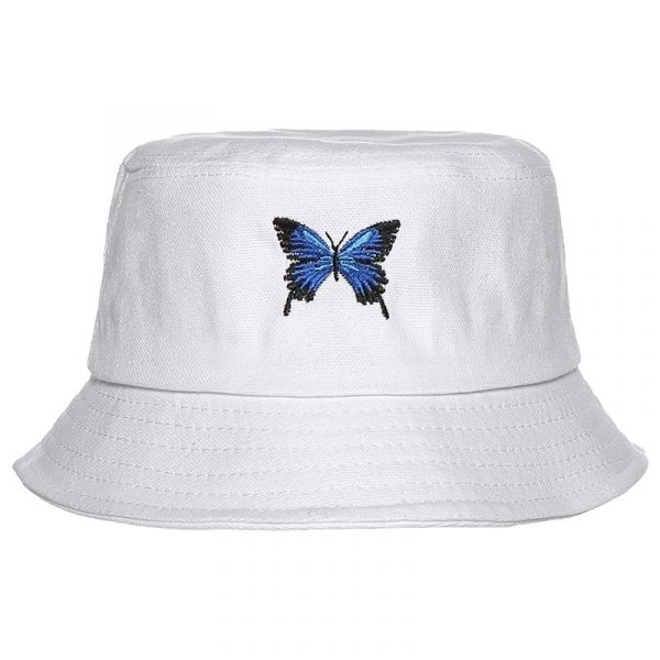 Butterfly Embroidery Fisherman White Hаt - My Sweet Outfit - eGirl Outfits - Soft Girl Clothes Aesthetic - Grunge Korean Artsy - Cosplay - Anime - Fashion itGirl - Rap Accessories 4